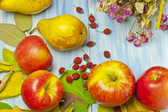 Pears, apples and autumn leaves Royalty Free Stock Images