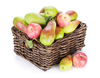 Pears and apples in basket Stock Photos