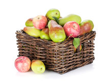 Pears and apples in basket. Isolated on white background Stock Photo