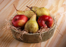 Pears and apples in the bowl Royalty Free Stock Photo