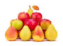 Pears and apples fresh red green yellow with leaf Stock Image