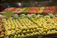 Pears apples fruits supermarket royalty free stock photos