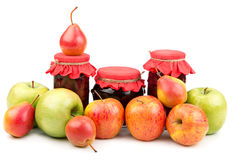 Pears and apples and  jam Royalty Free Stock Photo
