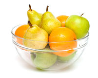 Pears, apples and oranges in a bowl Stock Image