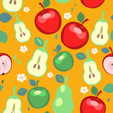 Pears and Apples Seamless Pattern. Seamless pattern with stylized pears and apples stock illustration