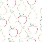 Pears and apples vector pattern. Stock Photo
