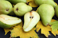Pears and autumn leaves Stock Photo