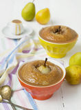 Pears baked in pastry with caramel peanut sauce Stock Photos