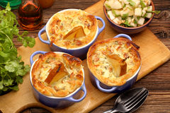 Pears baked in puff pastry with blue cheese and walnuts Stock Photography