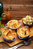 Pears baked in puff pastry with blue cheese and walnuts Stock Photos