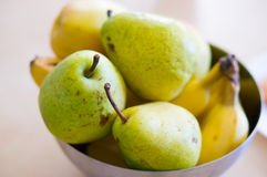 Pears and bananas. Fresh pears and bananas in a bowl Stock Photography