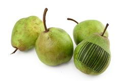 Pears with bar code of non-existing product Stock Photo