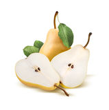 Pears bartlett whole and split  on white Royalty Free Stock Images
