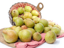 Pears in a basket and on burlap Royalty Free Stock Photos