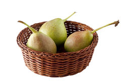 Pears in a Basket Isolated on White Stock Photography