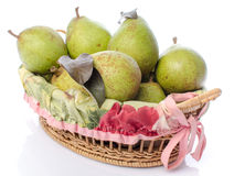 Pears in a basket Stock Photos