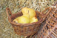 Pears in basket Stock Photo