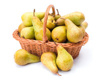 Pears in basket Stock Photos