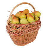 Pears in a basket on white Stock Image