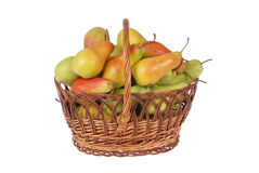Pears in a basket on white Royalty Free Stock Photos