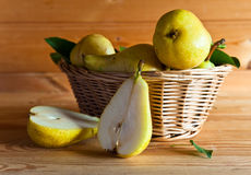 Pears in basket Royalty Free Stock Images