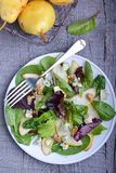 Pears and blue cheese salad. In plate Royalty Free Stock Image