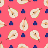 Pears and blueberry seamless pattern. Repeating illustrations of ripe pear and blueberries in pattern Royalty Free Stock Image