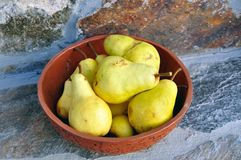 Pears in a bowl royalty free stock image