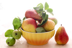 Pears and bowl. Sweet pears with green leaves Stock Photography