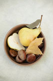Pears and bowl Stock Image