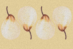 Pears on a brown background composition. Pears on a pink background composition as a backboard Stock Image