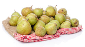 Pears on burlap Royalty Free Stock Image