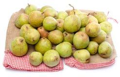 Pears on burlap Stock Photo