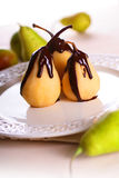 Pears in Chocolate Royalty Free Stock Photos