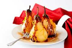 Pears in chocolate Royalty Free Stock Image