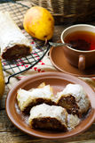 Pears and chocolate   strudel. .selective focus. Stock Image