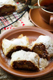Pears and chocolate   strudel. .selective focus. Stock Photos
