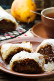 Pears and chocolate   strudel. .selective focus. Royalty Free Stock Photos