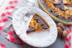 Pears chocolate tart Stock Image
