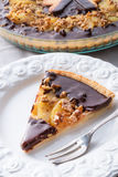 Pears chocolate tart Stock Photos