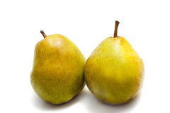 Pears closeup. Two pears closeup on a white background Royalty Free Stock Photo