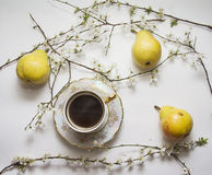 Pears with coffee cup stock photography