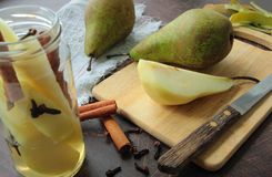 Pears compote preparing Royalty Free Stock Photography