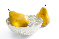Pears in contemporary silver bowl Stock Image