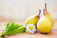 Pears on dinner table with daisy Royalty Free Stock Photo