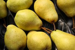 Pears in fruit box. Williams pears in fruit box, top view Royalty Free Stock Photo