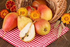Pears Fruit on red checkered tablecloth Stock Photos