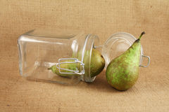 Pears in a glass  jar Royalty Free Stock Images