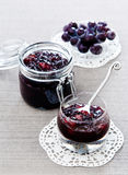Pears grape jam. In glass jar Stock Photography