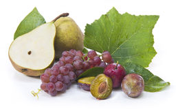 Pears, grapes and prunes Royalty Free Stock Photography